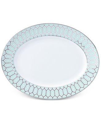 Brian Gluckstein by Lenox Clara Aqua Bone China Oval Platter