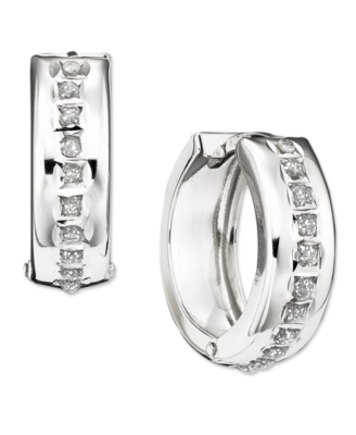 14k White Gold Diamond Accent Hinged Hoop Earrings
