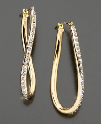 14k Gold Diamond Accent Wave Hoop Earrings - Diamond Hoops