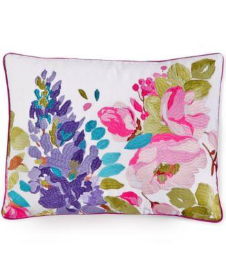 "bluebellgray Wisteria Embroidered Linen 12"" x 16"" Decorative Pillow"