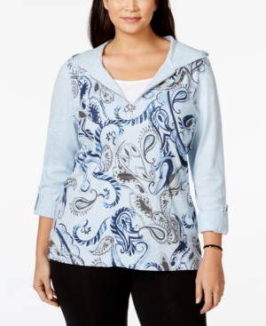 Style & Co. Sport Plus Size Half-Zip Printed Hoodie, Only at Macy's