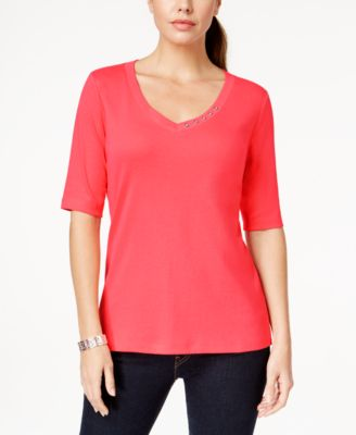Image of Karen Scott Button-Trim V-Neck T-Shirt, Only at Macy's