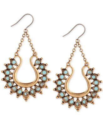 Lucky Brand Gold-Tone Turquoise-Color Stone Spiked Drop Earrings