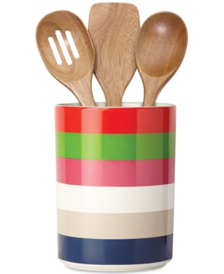 kate spade new york all in good taste Striped Utensil Crock and Wooden Utensils, Only at Macy's