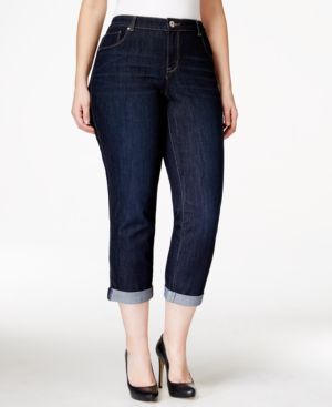 Style & Co. Plus Size Curvy-Fit Cuffed Ex-Boyfriend Jeans, Caneel Wash