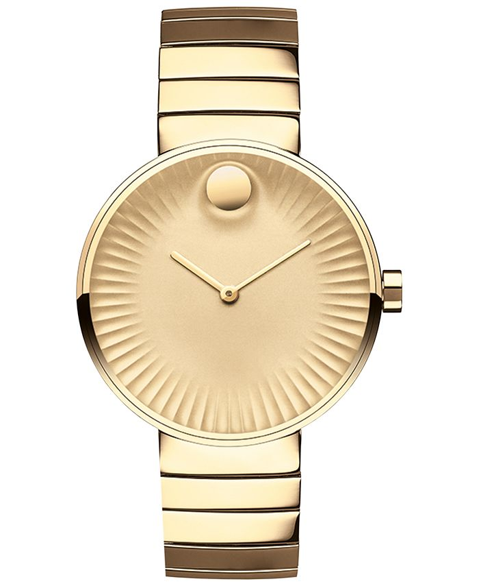 Movado - Women's Swiss Edge Gold-Tone PVD Stainless Steel Bracelet Watch 34mm 3680014