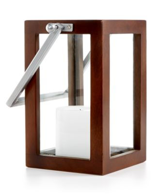 CLOSEOUT! Home Design Studio Medium Wood Candle Holder Lantern