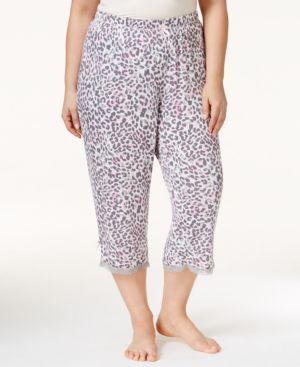 Jenni by Jennifer Moore Plus Size Animal-Print Capri Pajama Pants, Only at Macy's