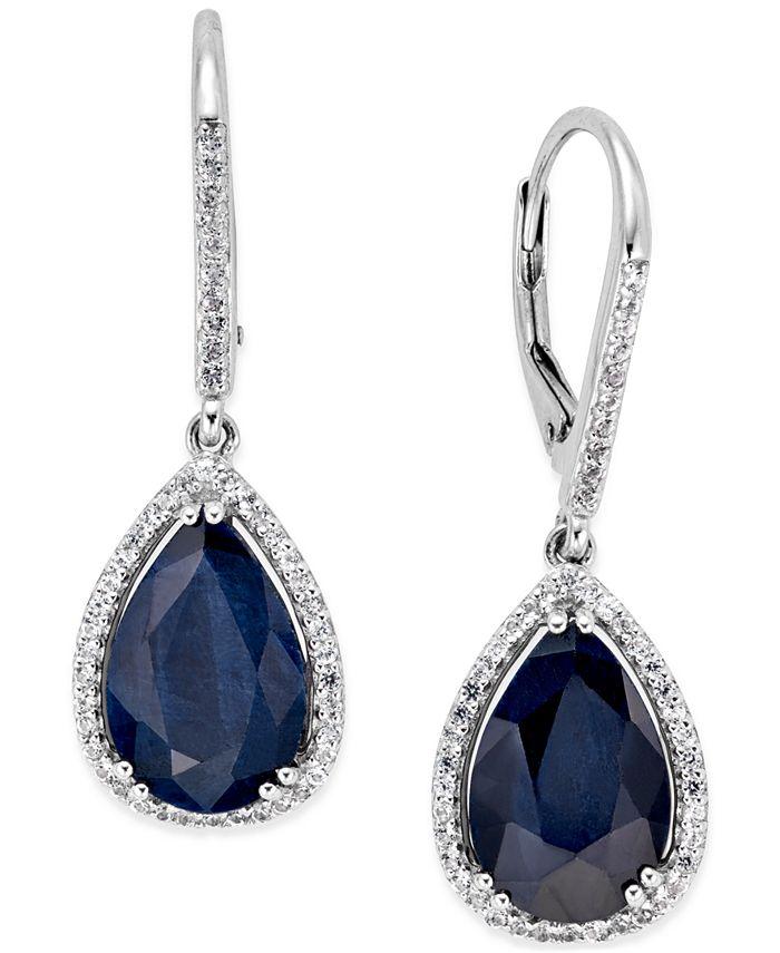Macy's - Black Sapphire (12 ct. t.w.) and White Topaz (1/2 ct. t.w.) Drop Earrings in Sterling Silver