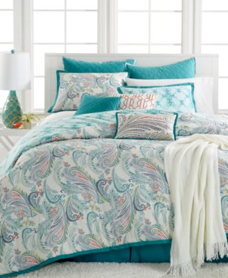 Kelly Ripa Home Fretwork Aqua 10-Pc Queen Comforter Set, Only at Macy's