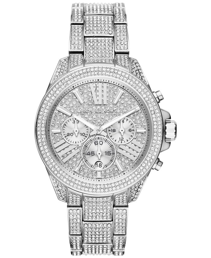 Michael Kors - Women's Chronograph Wren Pavé Accent Stainless Steel Bracelet Watch 42mm MK6317