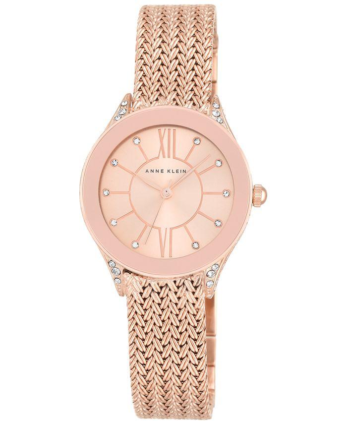 Anne Klein - Women's Rose Gold-Tone Stainless Steel Mesh Bracelet Watch 30mm AK/2208RGRG