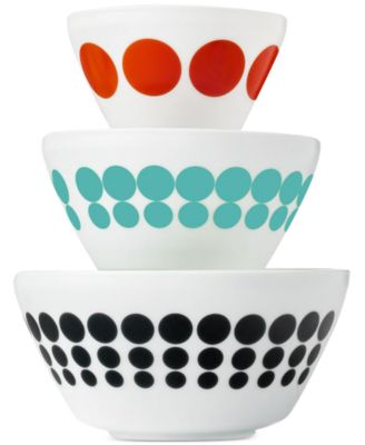 Vintage Charm inspired by Pyrex Spotted Too 6-Pc. Mixing Bowl Set, Only at Macy's