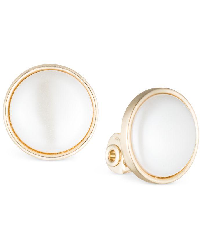 Anne Klein - Gold-Tone Bezel-Set Stone Clip-On Earrings