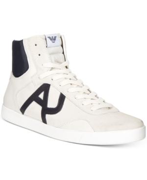 Armani Jeans Men's Logo Leather Hi-Tops Men's Shoes