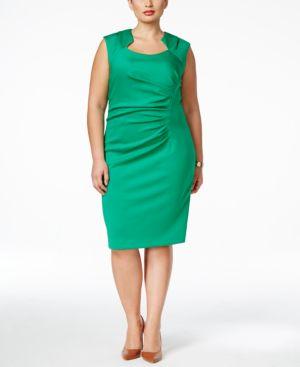 Calvin Klein Plus Size Ruched Sheath Dress