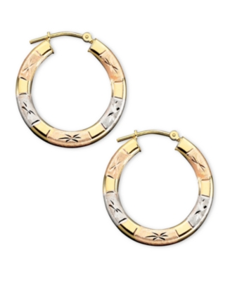 14k Tri-Color Gold Engraved Hoop Earrings