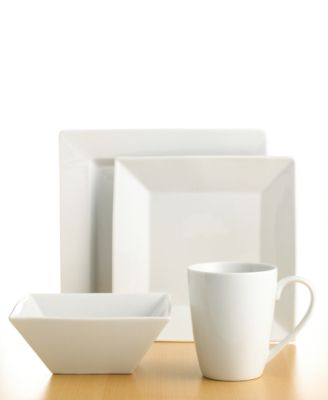 The Cellar Dinnerware, Whiteware Square 4 Piece Place Setting