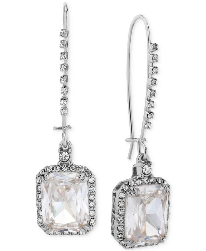 Betsey Johnson - Silver-Tone Crystal and Pavé Square Drop Earrings