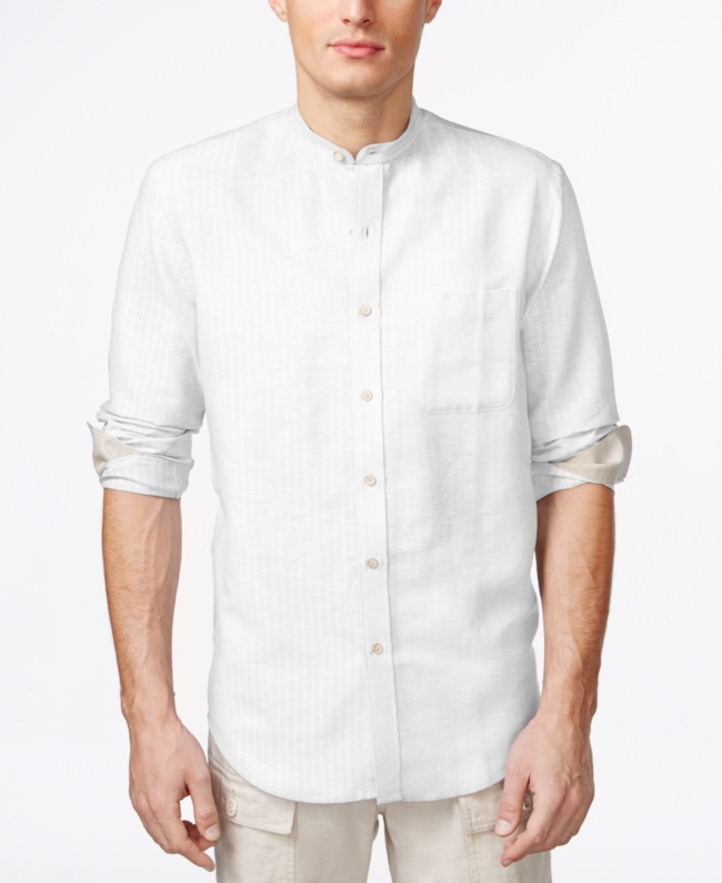 Tasso Elba Island Banded Collar Textured Striped Shirt | Top and Clothing
