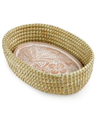 Global Goods Partners Handwoven Jute Bread Basket with Terra Cotta Platter