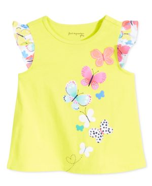 First Impressions Baby Girls' Butterflies Flutter-Sleeve T-Shirt, Only at Macy's