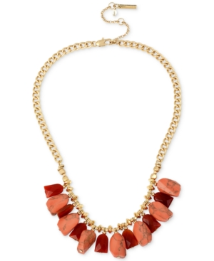 Kenneth Cole New York Coral Canyon Gold-Tone Red Bead and Coral Stone Necklace