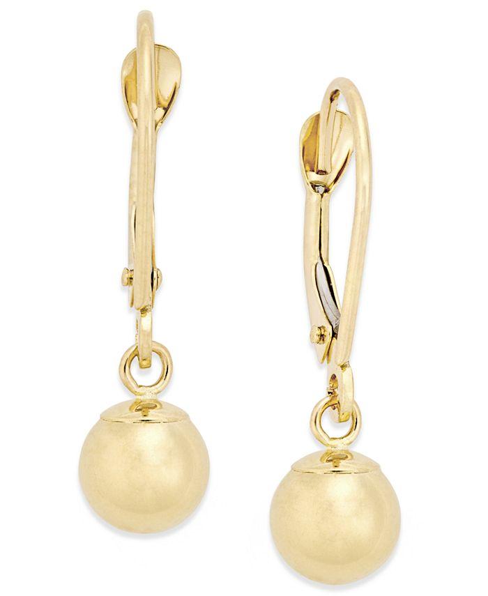 Macy's - Round Ball Drop Earrings in 10k Gold