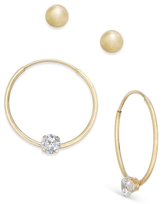 Macy's - 2-Pc Set Ball Stud and Cubic Zirconia Hoop Earrings in 10k Gold
