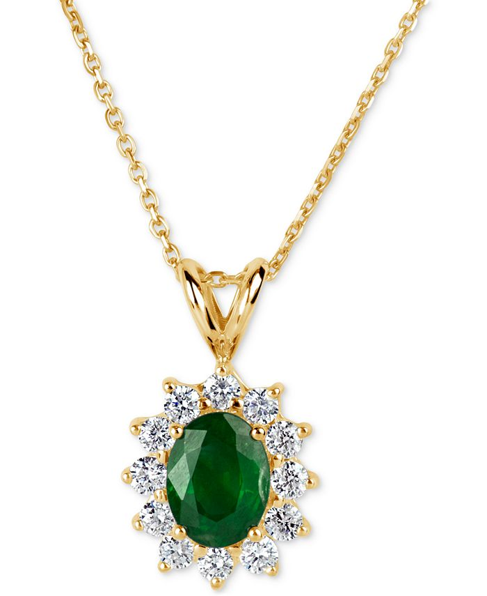 Macy's - Emerald (1-1/10 ct. t.w.) and Diamond (5/8 ct. t.w.) Pendant Necklace in 14k Gold
