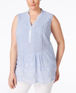 Style & Co. Plus Size Embellished Sleeveless Peasant Top, Only at Macy's