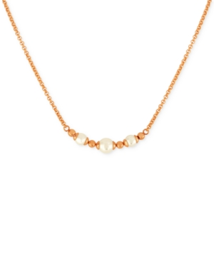 Majorica Rose Gold-Tone Imitation Pearl (6 and 8mm) Statement Necklace