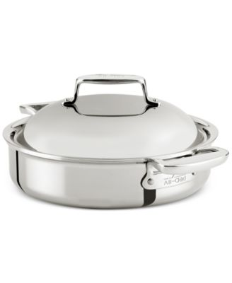 All-Clad d7 Stainless Steel 4-Qt. Braiser with Domed Lid