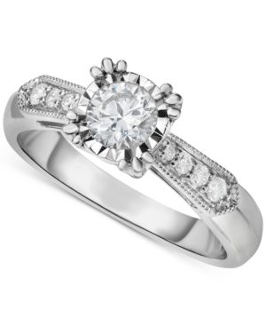 Diamond Vintage-Inspired Milgrain Engagement Ring (5/8 ct. t.w.) in 14k White Gold thumbnail