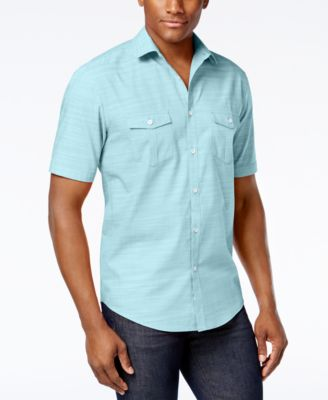 Image of Alfani Short Sleeve Warren Textured Shirt