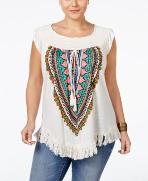 American Rag Trendy Plus Size Printed Fringe Top, Only at Macy's