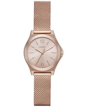 Dkny Women's Parsons Rose Gold-Tone Stainless Steel Mesh Bracelet Watch 30mm NY2489