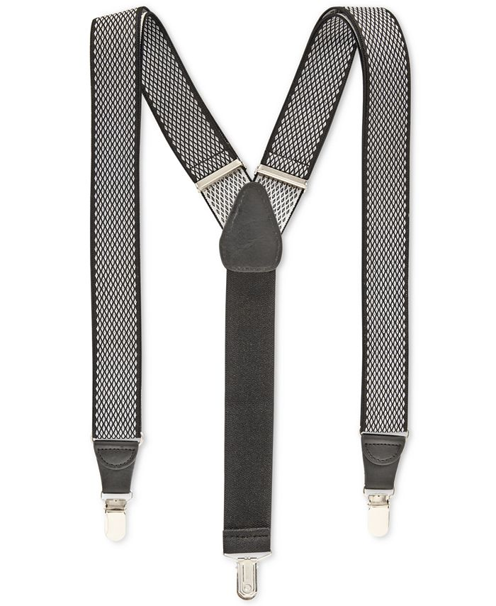 Club Room - Men's Diamond Print Suspenders