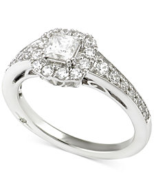 Marchesa Certified Diamond Princess Engagement Ring (1 ct. t.w.) in 18k White Gold, Created for Macy's