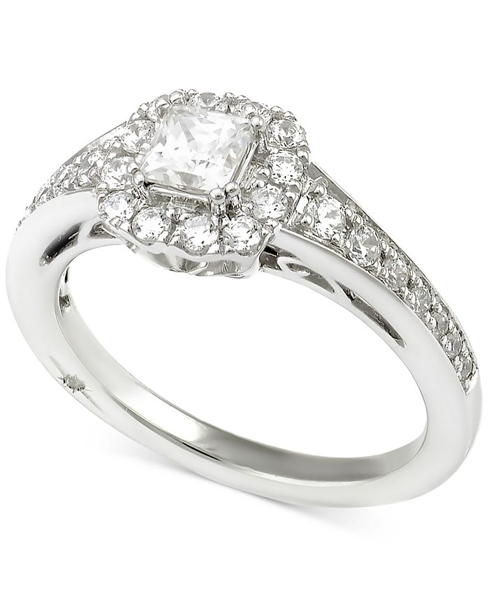 Marchesa - Certified Diamond Princess Engagement Ring (1 ct. t.w.) in 18k White Gold