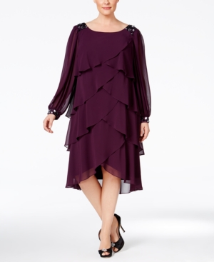 1920s Plus Size Dresses Sl Fashions Plus Size Beaded Long-Sleeve Flutter Dress $79.99 AT vintagedancer.com