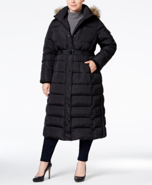 c31c92df285fe ... Down Belted UPC 767336911300 product image for Michael Michael Kors  Plus Size Hooded Faux-Fur-Trim