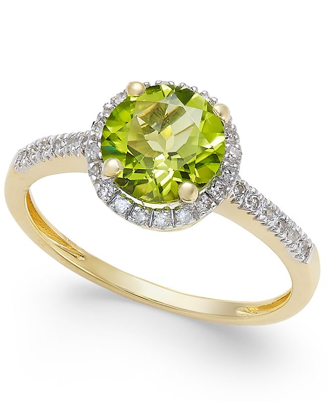 Macy's Peridot (1-1/3 ct. t.w.) and Diamond (1/8 ct. t.w.) Ring in 14k Gold