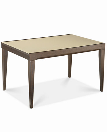 Caf latte glass top dining table furniture macy 39 s for Macys dining table
