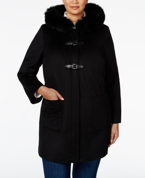 Forecaster Plus Size Fox-Fur-Trim Hooded Coat, Only at Macy's