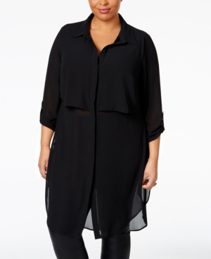Plus Size Clothing,  Plus Size Womens Clothing Ny Collection Plus Size Sheer Chiffon Tunic Blouse
