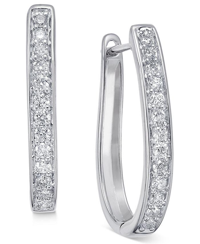 Macy's - Diamond Oval Hoop Earrings (3/8 ct. t.w.) in 14k White or Yellow Gold