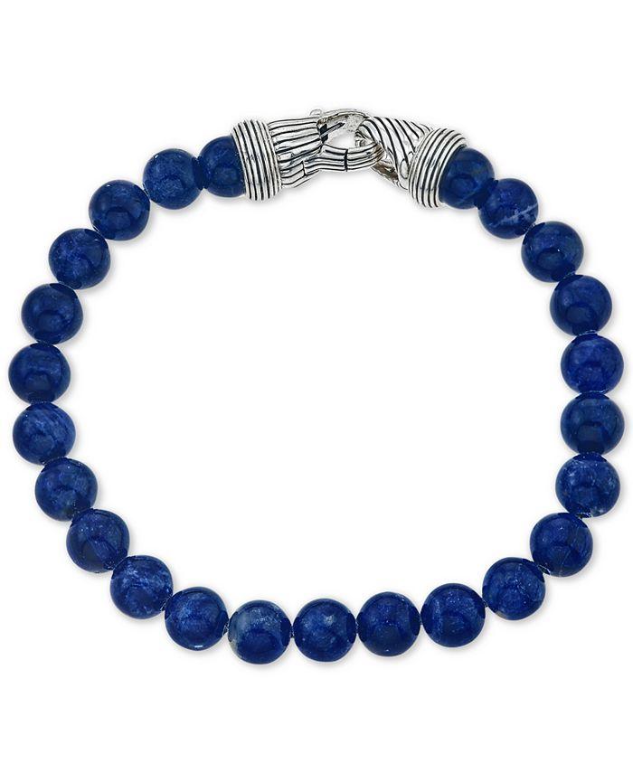 Esquire Men's Jewelry - Men's Sodalite (8mm) Beaded Bracelet in Sterling Silver