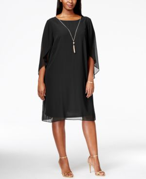 Msk Plus Size Angel-Sleeve Shift Dress