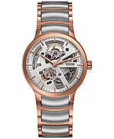 Rado Unisex Swiss Automatic Centrix Open Heart Two-Tone PVD Stainless Steel Bracelet Watch 38mm R30181103